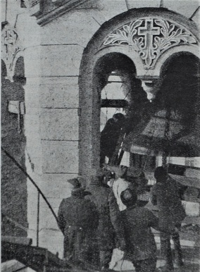 The removal of the bell from St Volodymyr's Cathedral Central Kiev USSR 1930