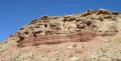 Middle Triassic marginal marine sequence of siltstones (reddish layers at the cliff base) and limestones (brown rocks above), Virgin Formation, southwestern Utah, US