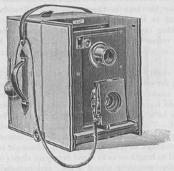 Sketch of an early-20th-century twin-lens reflex camera