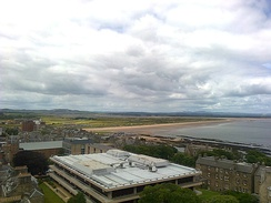 University of St Andrews library from above with West Sands in the background