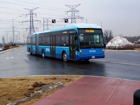 A Van Hool single articulated bus with North American specifications north of Toronto, Ontario, Canada.