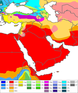 Köppen climate classification map of West Asia