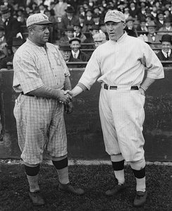 Robins manager Wilbert Robinson with Red Sox manager Bill Carrigan