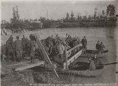 Austrian troops crossing the Isonzo, November 1917
