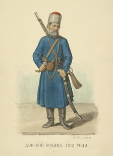 A Cossack from the Don area, 1821, illustration from Fyodor Solntsev, 1869