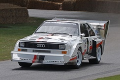 1987 Audi Sport Quattro S1 with special racing wings and the Pikes Peak International Hill Climb livery, in the Goodwood Festival of Speed