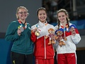Girls victory ceremony (from left to right): Jessica Pickering (Silver), Fan Xinyi (Gold), Vera Beliankina (Bronze)