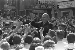 Lyndon B. Johnson in Des Moines on June 30, 1966, near 5th Avenue and the (now-demolished) Hotel Franklin.