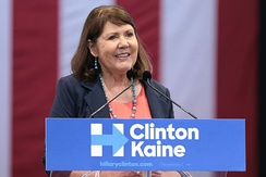 Kirkpatrick speaking in support of Hillary Clinton at a campaign rally in October 2016.