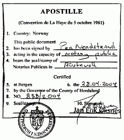 An apostille issued by Norwegian authorities.