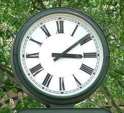 A typical clock face with Roman numerals in Bad Salzdetfurth, Germany