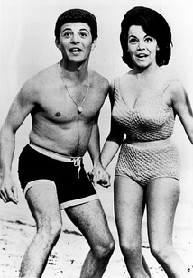 Publicity photo of Frankie Avalon and Annette Funicello for Beach Party films (c. 1960s). Funicello was not permitted to expose her navel.