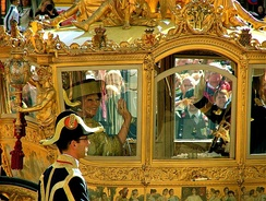 Queen Beatrix and her son, Willem-Alexander in the Golden Coach on Prinsjesdag 2007, the day she gives the annual speech from the throne outlining the government's agenda for the upcoming parliamentary year.
