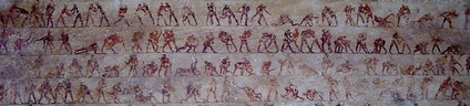 Detail of the wrestling fresco in tomb 15 at Beni Hasan.