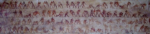 Detail of the Ancient Egyptian wrestling scenes in tomb 15 (Baqet III) at Beni Hasan.