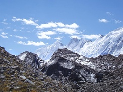 """Karakoram"" is a Turkic word referencing the mountains' black gravel, as seen near Pakistan's Biafo Glacier."
