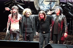 Black Sabbath live in Brazil, 2013. From left to right: Tommy Clufetos, Butler, Osbourne, Iommi