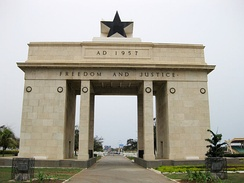The Black Star Monument in Accra, built by Ghana's first president Kwame Nkrumah to commemorate the country's independence