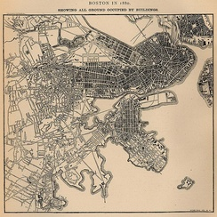 Map showing all ground in Boston occupied by buildings in 1880. From U.S. Census Bureau.