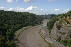 The Avon Gorge, the historic boundary between Gloucestershire and Somerset, and also Mercia and Wessex; Somerset is to the left