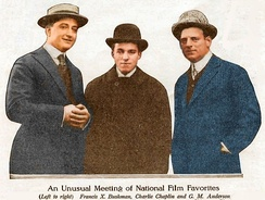 Francis X. Bushman, Charlie Chaplin and Anderson, photo taken at the Essanay Studio, Chicago in 1915