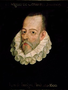 The well-known portrait, supposedly by Juan de Jáuregui, mentioned in the prologue of the Exemplary Novels. It has not been authenticated, and the names of Cervantes and Jáuregui on it were added centuries after it was painted. No authenticated image of Cervantes exists, and the Jáuregui painting is lost.[a][2][3]