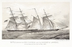 Chasseur, one of the most famous American privateers of the War of 1812, capturing HMS St Lawrence