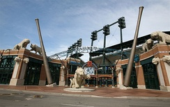 The entrance sign of Comerica Park