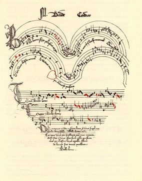 A chanson about love, Belle, bonne, sage, by Baude Cordier, is in a heart shape, with red notes indicating rhythmic alterations.