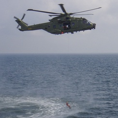 Danish Air Force AW101 hoisting from water
