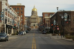 Locust Street looking east from 4th Street toward the Iowa State Capitol in East Village