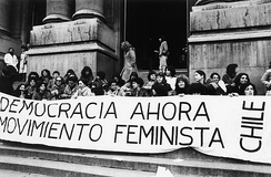 Chilean feminists protest against the regime of Augusto Pinochet