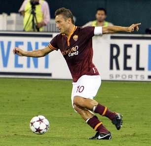 Italian offensive playmaker Francesco Totti in action for Roma in 2013