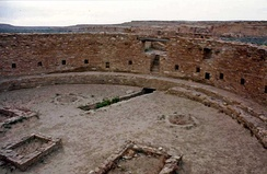 Ruins of a great kiva at Chaco Culture National Historical Park