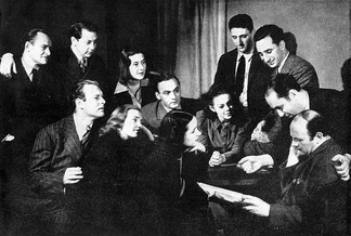 Morris Carnovsky (right) with Phoebe Brand (front row, center) and other members of the Group Theatre in 1938
