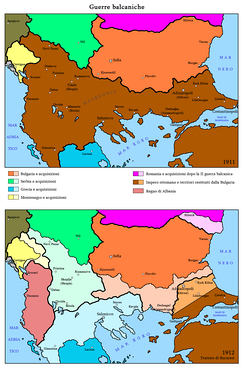 The territorial gains of the Balkan states after the Balkan Wars