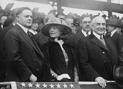 Hoover (left) with President Harding at a baseball game, 1921