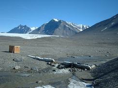 December 12, 2001 photo of the USGS streamflow-gaging station at Huey Creek, McMurdo Dry Valleys, Antarctica.