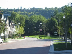 "View of the Niagara Escarpment from the bottom on Hunter Street. The escarpment runs through the city, bisecting it into ""upper"" and ""lower"" parts."