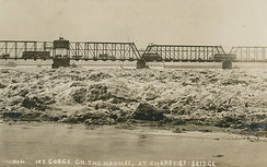Ice Buildup on Maumee River at Cherry Street Bridge in Toledo, Ohio, 1924