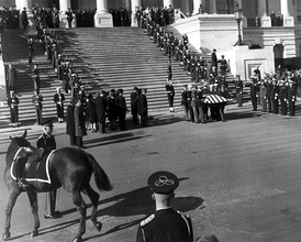 "The riderless (caparisoned) horse named ""Black Jack"" during a departure ceremony held on the center steps at the United States Capitol Building."
