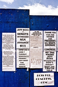 Jeff Boss campaign literature, posted on a wall on 9th Avenue in Manhattan.