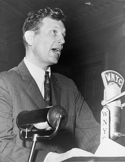 Congressman Lindsay speaking at the New York City Board of Estimate meeting at City Hall in April 1963