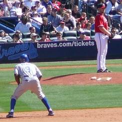 Pierre leading off second as Braves reliever Blaine Boyer checks the runner in April 2008.