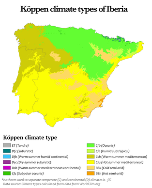 Köppen climate types of Iberia