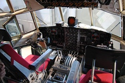 Lockheed C-130 Hercules flight deck. Aircraft displayed at the Norwegian Armed Forces Aircraft Collection