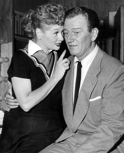 With John Wayne in I Love Lucy, 1955