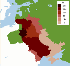 Map showing percentage of Jews in the Pale of Settlement in the Russian Empire c. 1905