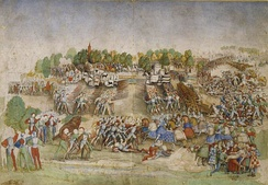 Contemporary depiction of the battle, attributed to the Maître à la Ratière