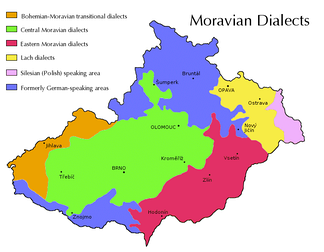 Traditional territory of the main dialect groups of Moravia and Czech Silesia. Green: Central Moravian, Red: East Moravian, Yellow: Lach (Silesian), Pink: Cieszyn Silesian, Orange: Bohemian–Moravian transitional dialects, Purple: Mixed areas